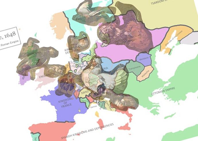d'Hondecoeter - Birds and map