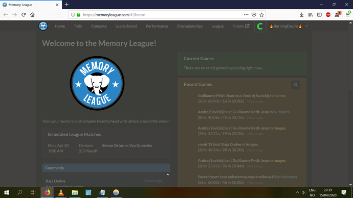 Memory League Suggestion Online Competition Tab
