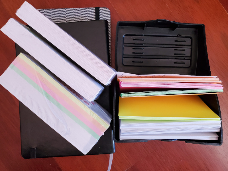 small notebooks and index cards