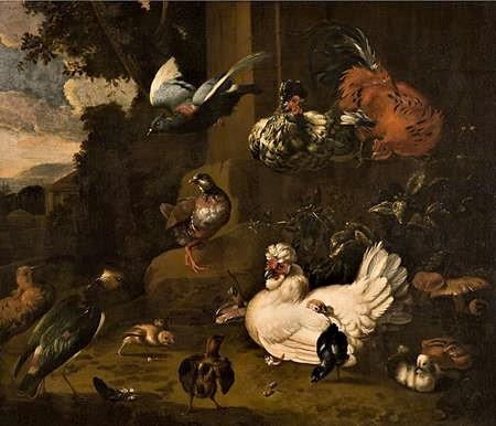 d'Hondecoeter - Birds in a landscape filtered